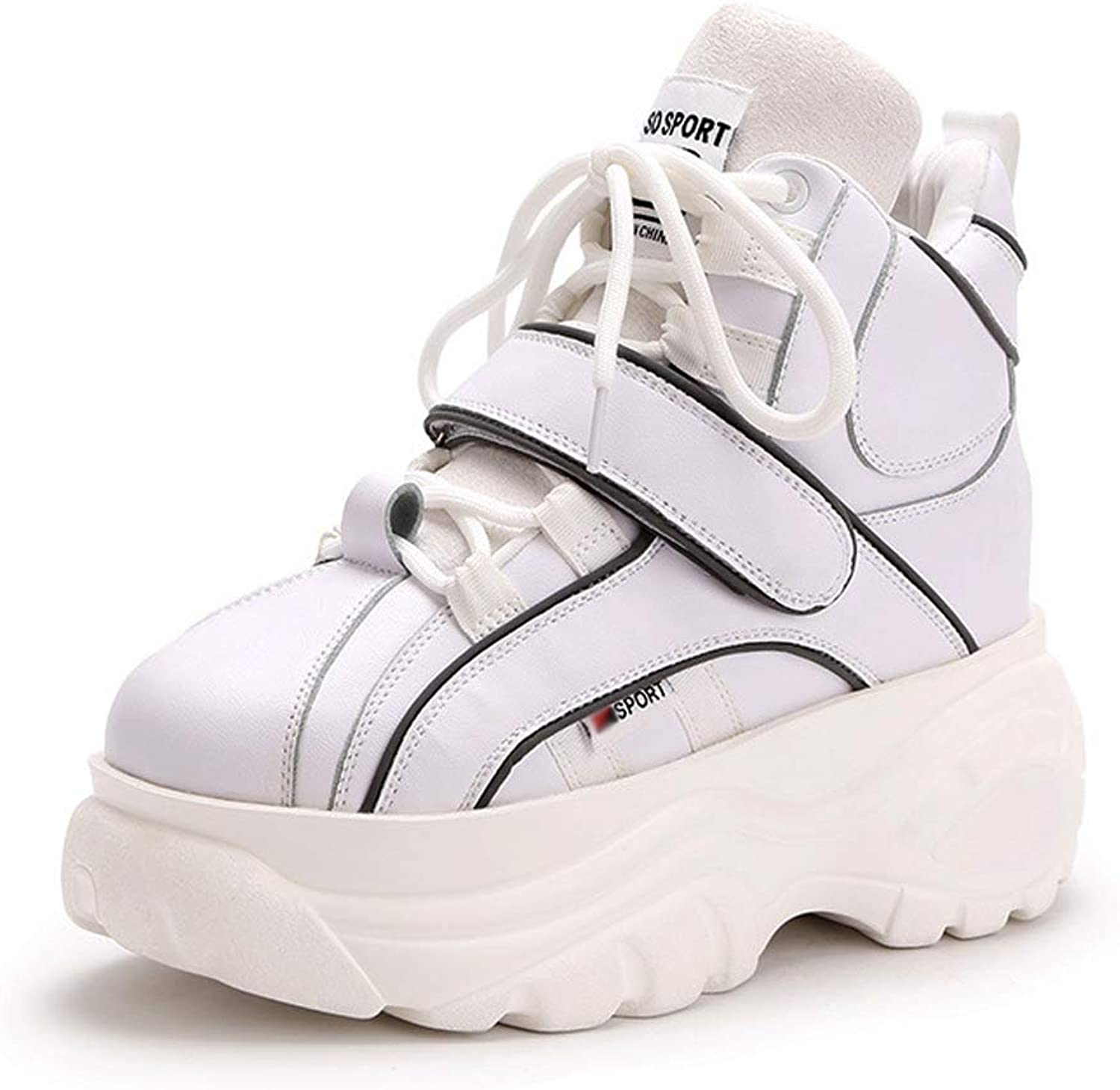 Winter Casual Sneaker Dorky Dad shoes, Thick Soles High Upper Inside Heighten 2Cm PU Lightweight, Fashion Women's shoes Platform shoes,White,40