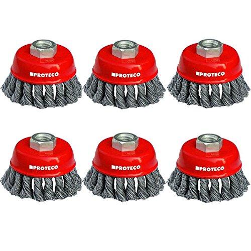 Proteco-Werkzeug® Topfbürsten-Set 6 tlg für Einhand Winkelschleifer Stahldraht-Topfbürste 65 mm gezopfter Stahldraht 0,50 Gewinde M14 x 2,0
