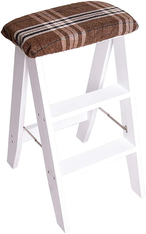 Stool Step Stool Ladder Multi-Function Folding Ladder Creative Portable Step Stool Pine Three-Step Stool Home Kitchen Folding Ladder (color   White, Size   38  34  61CM)