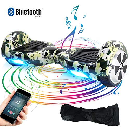 Windgoo Hoverboard, 6.5 Zoll Self Balance Scooter mit Bluetooth Lautsprecher, LED Lights Elektro Scooter E-Skateboard (Camouflage)