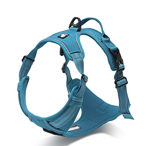SGODA Dog Harness No-Pull Harness with Handle Reflective Dog Vest Harness, X-Large, Blue