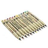 KingLan 12 Colores 1.5 Mm Art Marker Manga Fine Head Paint Graphic Sketch Drawing Pen Set