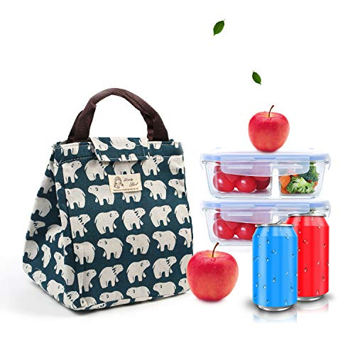 Reusable Lunch Bags Insulated Lunch Bags Cute Tote Handbag Canvas LunchboxWork Travel Picnic School Bento Lunch Bag for Woman Men Kids