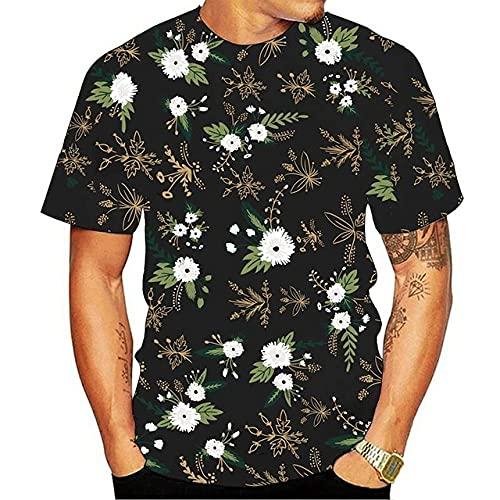 BOLIXIN Camiseta de Manga Corta Camiseta con Estampado 3D de Flor Rosa para Hombre de Verano 2020, Camiseta Informal cómoda 3DT de Manga Corta de Verano a la Moda para Hombre, TXL4078, XXXL