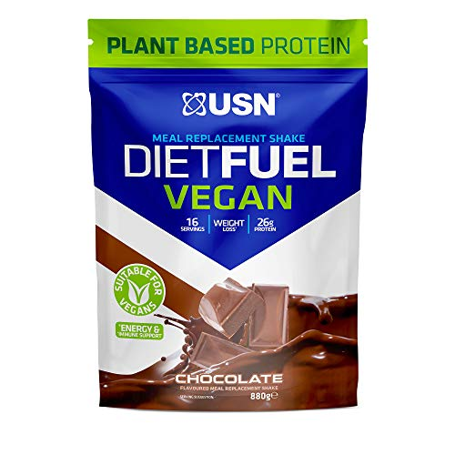USN Diet Fuel Vegan Chocolate 880 g: High Protein Vegan Meal Replacement Shake