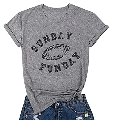 FAYALEQ Sunday Funday Football Funny T-Shirt Women's Casual Short Sleeve Tee Tops Blouse