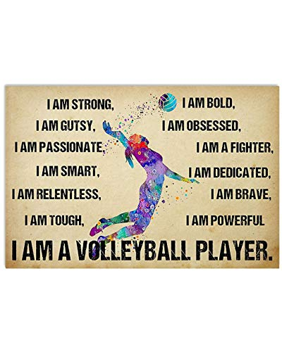 Girl Color I Am Bold I Am A Fighter I Am A Volleyball Player Poster No Frame Or Framed Canvas 0.75 Inch Print in Us Novelty Quote Meaningful, Motivational