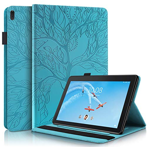 Tedtik Case Lenovo Tab E10 TB-X104F / Tab4 10 / Tab4 10 Plus Tablet, Cubierta de Soporte de Visualización de Múltiples ángulos con Bolsillo - Lago Azul