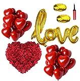 Super Idee Tolles romantisches Set XXL Größe Folienballon LOVE 50 Stück. Herzluftballons 2000 Stück Rosenblätter mit Luftpumpe für Hochzeit Valentinstag Geburtstag Party Jahrestag als romantische Deko