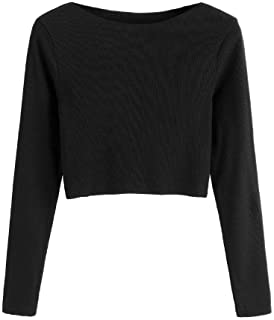 SweatyRocks Women's Solid Plain Long Sleeve Ribbed Knit Pullover Crop Tee Tops