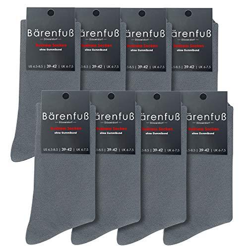 Bärenfuß Herren & Damen Premium Socken - 8 Paar ohne Gummibund & ohne spürbare Naht (39-42, Grau)