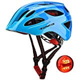 GPMTER Kids Bike Helmet for Boys - Adjustable Bicycle Safety Helmet with LED Light for Skating Cycling Scooter Skateboarding - for Toddler to Youths Ages(Blue, 3-8 Years)