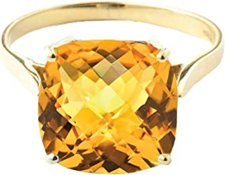 3.6 Carat 14K Solid Yellow Gold Ring Checkerboard Cushion Cut Natural Citrine 2313Y