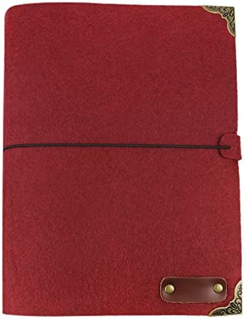 B5 Soft Felt Cover Journal 3 Ring Binder Sketch Notebook w Blank Refillable Kraft Paper String product image