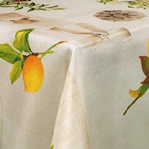 Valia Home Tischdecke Tischtuch Tafeldecke schmutzabweisend wasserabweisend Lotuseffekt pflegeleicht eckig in verschiedenen Größen und Designs (Mediterran, 130 x 160 cm)