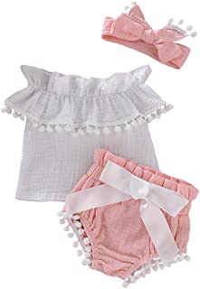 Mikrdoo 2 PCS Toddler Girl Summer Clothes Set White Lace Tops with Handmade Flowers + Bottom Shorts Outfits