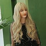 HAIRCUBE Pelucas de pelo rizado rubio dorado largo para mujeres blancas Pelucas de moda Peluca sintética muy natural con Blunt Bang Fiesta o uso diario