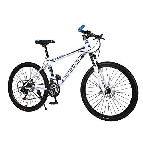 Mountainbikes 26 Zoll, Kohlenstoffstahl Shimano 21 Geschwindigkeit Fahrrad Vollfederung MTB Scheibenbremsen Hardtail MTB Bike Mädchen-Fahrrad (Blau)
