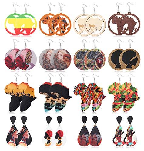 Milacolato 16 Pairs African Wooden Dangle Earrings for Women Round Map Teardrop Wood Statement Earrings Painted Ethnic Style Earrings