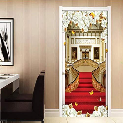 WISOEEP Red Carpet Stairs 3D Door Stickers Mural Wallpaper European Bedroom Living Room Door Waterproof Mural Home Decor