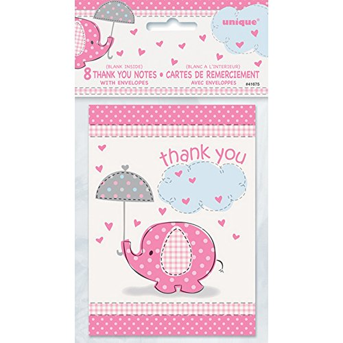 Umbrellaphants Pink Thank You Cards with Envelopes - Pack of 8