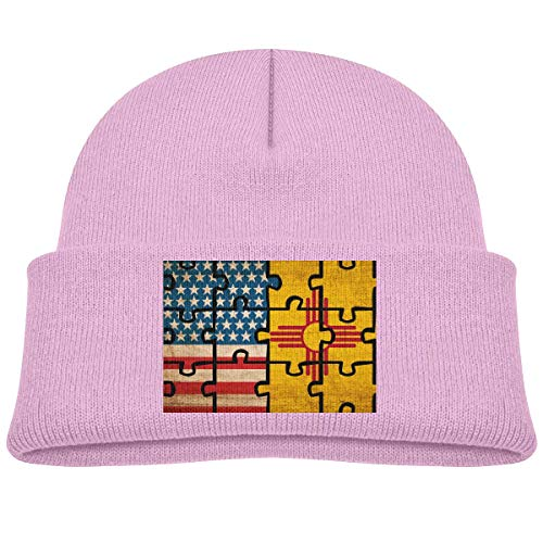 Quintion Robeson Vintage USA Bandera de Nuevo México Rompecabezas Niño Bebé Niñas Niños Gorros Sombrero Gorro de Punto