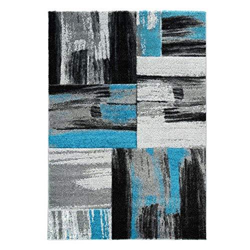 Lalee Teppich Modern Flachflor Konturenschnitt Hand Carving Meliert, Streifen in Blau Grau für Wohnzimmer, Schlafzimmer, Größe in cm:120 x 170 cm
