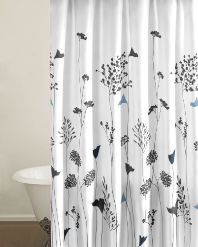 Perry Ellis Asian Lily Black and White Shower Curtain (100% cotton)