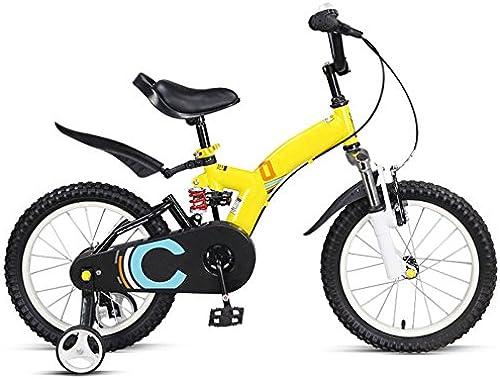 QXMEI Kinder fürrad High-Carbon-Stahlrahmen 2-3-4-6-7-8-10 Jahre Alten Jungen Und mädchen 14 16 Zoll Kinder fürrad,Gelb-16Inches