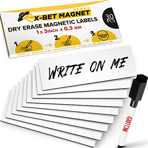 Dry Erase Magnetic Labels for Metal Shelving - Dry Erase Magnetic Stickers for Whiteboards - Sticky Labels and Stickers - Magnetic Name Tags - Writable Flexible Magnet Sheets - Blank Write On Magnets