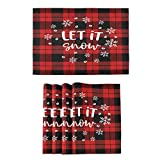 Christmas New Year Tartan Plaid Placemats Kitchen Tables Mats Set of 4 for Dining Xmas Winter New Year Let It Snow Double Sided Place Mats Farmhouse Tablemats for Indoor Outdoor Home Decoration