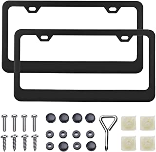 DEDC 2 Pack Stainless Steel Car License Plate Frames Shields, Auto Plate Cover Frames Fits Most Standard US Plates, Screws Included