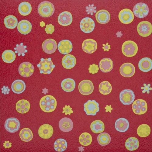 11x Leroy Merlin Vinyl Tiles Flooring Self Adhesive Red Flower 1m2