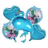 Kfdzsw Globos Juego de Globo de Fiesta de 5 Piezas Set de Fruta de piña Dorada Flamingo Aluminio Foil Balloon Feliz cumpleaños Combinación de Bola Redonda Fiesta (Color : Blue)