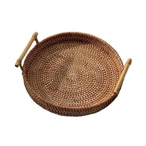 Nicetruc recipientes de Plantas y Accesorios de Almacenamiento Rattan Bandeja Tejido a Mano Cesta de Mimbre con la manija para Pan de Fruta Comida El Desayuno Display (28x7cm)