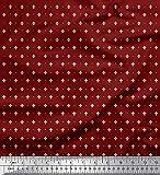 Soimoi Rot Satin Seide Stoff Dot & Fleur De Lis Damast