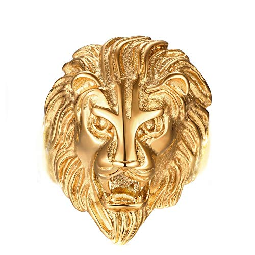 Gold Lion Head Design Stainless Steel Rings for Men Boys Jewelry Chic Punk Animal