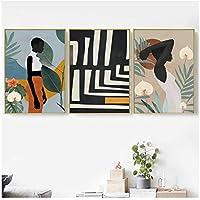 抽象的なアフリカの女性の花は壁の芸術のキャンバスの絵画のポスターを残し、リビングルームの家の装飾のための壁の写真を印刷します