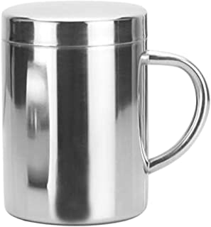 Perfk 220/300/420ml Stainless Steel Hot Water Cup Double Insulate Mug with Lid - 300ml