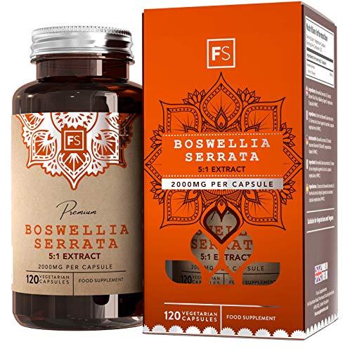 FS Boswellia Serrata 5:1 Extrait de Encens   Haute Concentation   2000mg Supplément   120 Gélules Vegan   Pour Soin des Articulations   Sans OGM   Sans Gluten et Lactose ou Additif