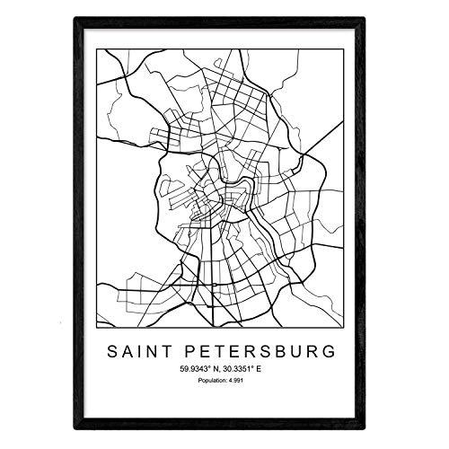 Nacnic Drucke Karte von Sankt Petersburg im skandinavischen Stil in Schwarz & Weiß. A3 Größe Plakat Das Bedruckte Papier Keine 250 gr. Gemälde, Drucke & Poster für Wohnzimmer & Schlafzimmer
