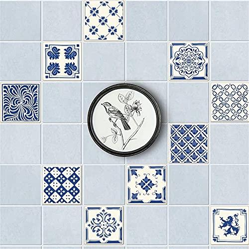 vinilos pared,20 piezas de pegatinas retro de baldosas de porcelana azul y blanca, pegatinas decorativas para baldosas de empalme sin bricolaje