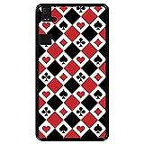 Hapdey silikon Hülle für [ Bq Aquaris E6 ] Design [ Muster der Spielkarten ] Schwarze Flexibles TPU