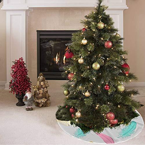 Falda de árbol de Navidad Colorido Dorado Retro Pluma Flor Estampado Falda de árbol de Navidad Poliéster Falda de árbol de Navidad Alfombra para Fiesta Decoraciones navideñas Adornos de navida