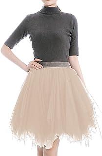 TOAH falda tutú de tul para mujer, longitud hasta la rodilla, con lazo, con capas de malla de tul