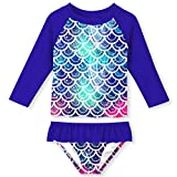 UNIFACO Big Girls' 2-Piece Mermaid Swimsuit Long Sleeve Bathing Suits RushGuard Beach Tankini 3-4 Years Old