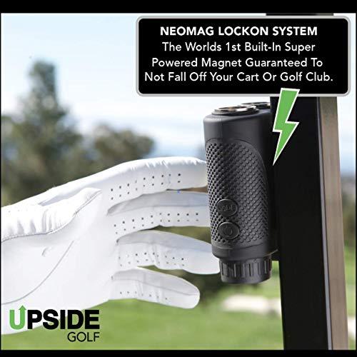 Upside Golf LOCKON Rangefinder - Worlds First Built-in Magnet, Pinseeker Lock, Slope Mode, 6X Laser Rangefinder 650+ Yards, Accurate Distance to 1 Yard, Water Resistant Tournament Legal Rangefinder