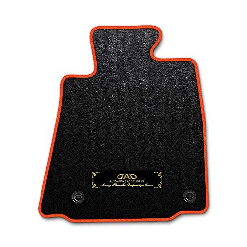 DAD ギャルソン D.A.D エグゼクティブ フロアマット HONDA (ホンダ) STREAM ストリーム(7人乗) 型式:RN2/4 1台分 GARSON エレガントデザインブラック/オーバーロック(ふちどり)カラー:オレンジ/刺繍:ゴールド/ヒール