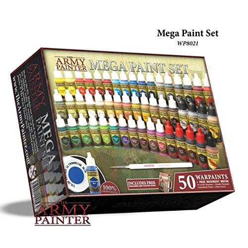 The Army Painter | Wargamers Mega Paint Set | 50 Pinturas Acrílicas y Pincel Wargamer | Starter Kit completo par a Wargames, Roleplaying y Pintura de Miniatura | Colores para el Hobby