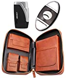 AMANCY Quality Portable Brown Leather Multi-Function Cedar Wood Lined 5 Holder Cigar Case Humidor with Cutter and Lighter